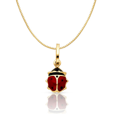 14K Gold Lady Bug Colored Enamel Lucky Charm Pendant with 0.8mm Box Chain Necklace