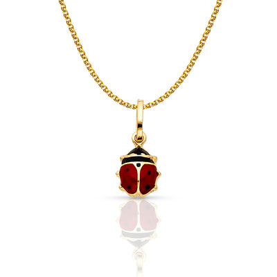 14K Gold Lady Bug Enamel Lucky Charm Pendant with 1.2mm Flat Open Wheat Chain Necklace