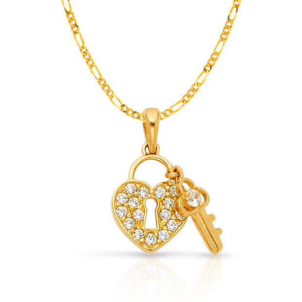 14K Gold Heart Lock & Key Studded CZ Charm Pendant with 1.6mm Figaro 3+1 Chain Necklace