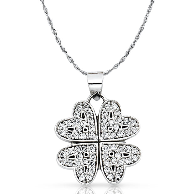 14K Gold Four Hearts Clover CZ Pendant with 1.5mm Rope Chain