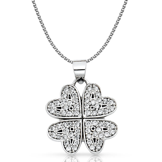 14K Gold Four Hearts Clover CZ Pendant with 1.3mm Flat Open Wheat Chain