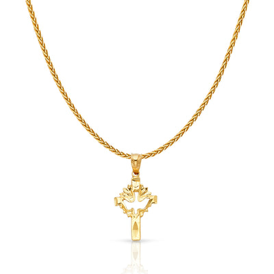 14K Gold Cross with Holy Spirit Dove Charm Pendant with 1.1mm Wheat Chain Necklace
