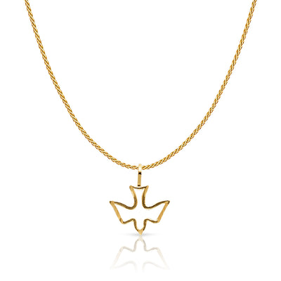 14K Gold Holy Spirit Dove Charm Pendant with 0.9mm Wheat Chain Necklace