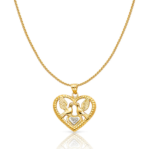 14K Gold Charm Pendant with 0.9mm Wheat Chain Necklace
