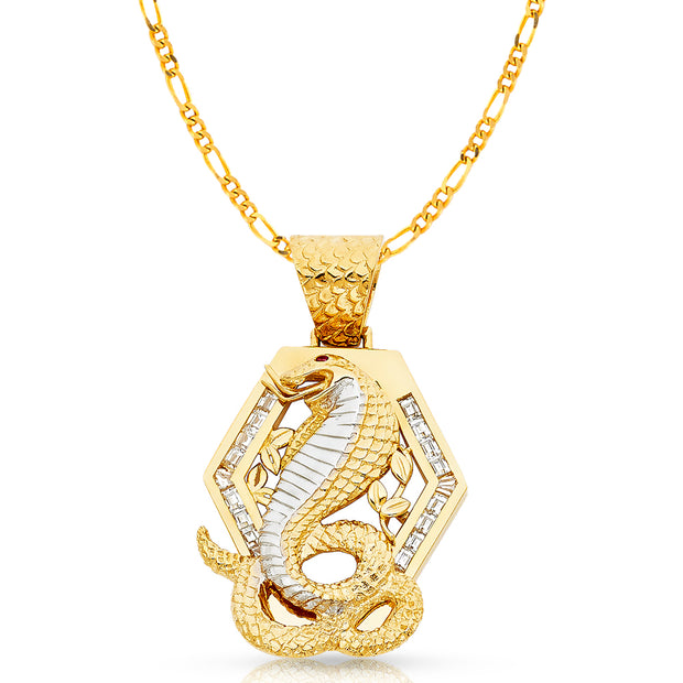 14K Gold CZ Viper Snake Charm Pendant with 3.8mm Figaro 3+1 Chain Necklace