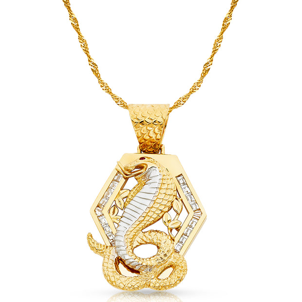 14K Gold CZ Viper Snake Charm Pendant with 1.8mm Singapore Chain Necklace