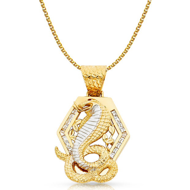 14K Gold CZ Viper Snake Charm Pendant with 2mm Flat Open Wheat Chain Necklace