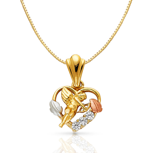 14K Gold CZ Cupid Charm Pendant with 0.8mm Box Chain Necklace
