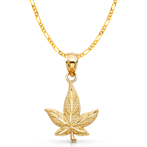 14K Gold Marijuana Leaf Charm Pendant with 3.1mm Figaro 3+1 Chain Necklace
