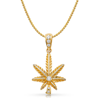 14K Gold CZ Marijuana Leaf Charm Pendant with 2mm Flat Open Wheat Chain Necklace