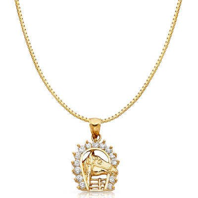 14K Gold CZ Lucky Horseshoe Charm Pendant with 1.2mm Box Chain Necklace