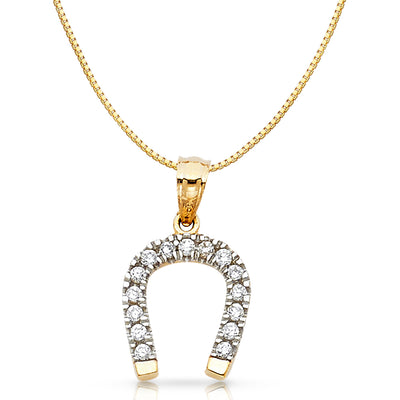 14K Gold CZ Lucky Horseshoe Charm Pendant with 0.8mm Box Chain Necklace