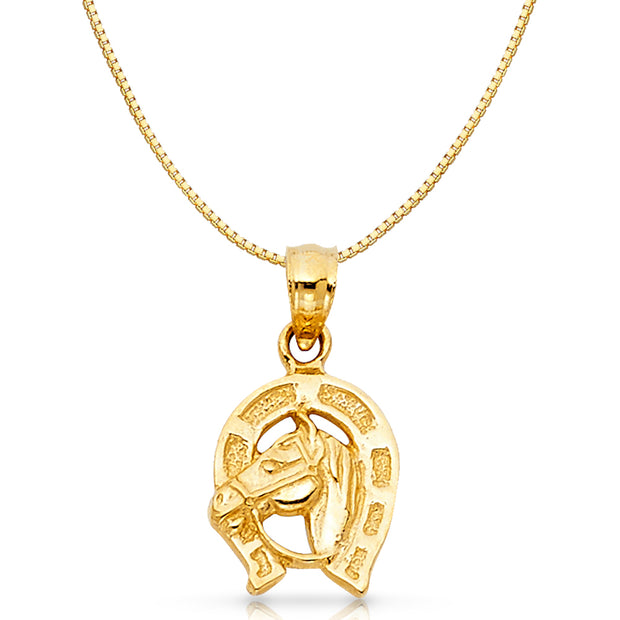 14K Gold Lucky Horseshoe Charm Pendant with 0.8mm Box Chain Necklace
