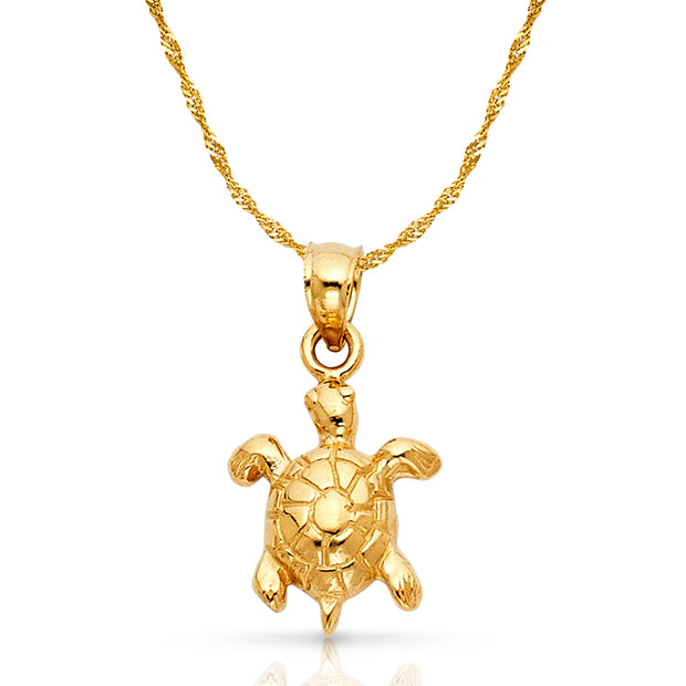 14K Gold Turtle Charm Pendant with 1.2mm Singapore Chain Necklace