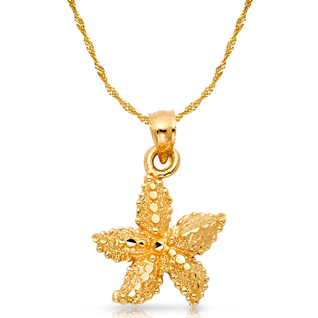 14K Gold Starfish Charm Pendant with 1.2mm Singapore Chain Necklace