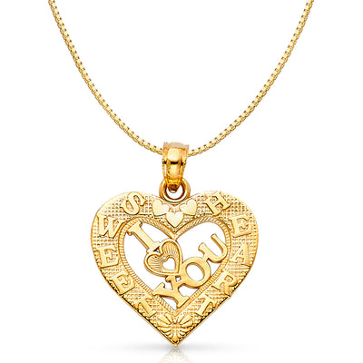 14K Gold I Love You Heart Charm Pendant with 0.8mm Box Chain Necklace
