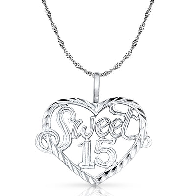 14K Gold Quinceanera Heart Pendant with 0.9mm Singapore Chain