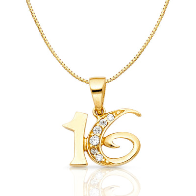 14K Gold CZ 16 Years Charm Pendant with 0.8mm Box Chain Necklace