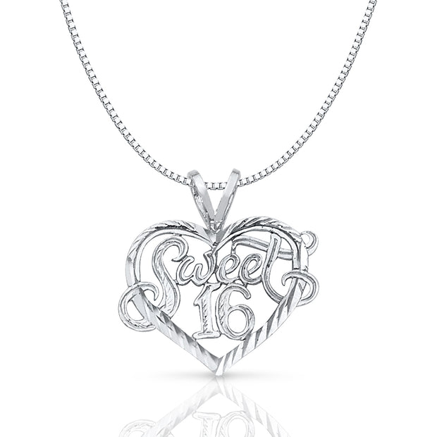 14K Gold Sweet 16 Years Heart Charm Pendant with 1mm Box Chain Necklace