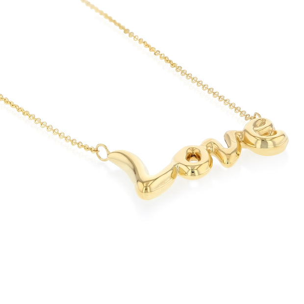 14K Gold Cursive Love Pendant Chain Necklace - 17+1'
