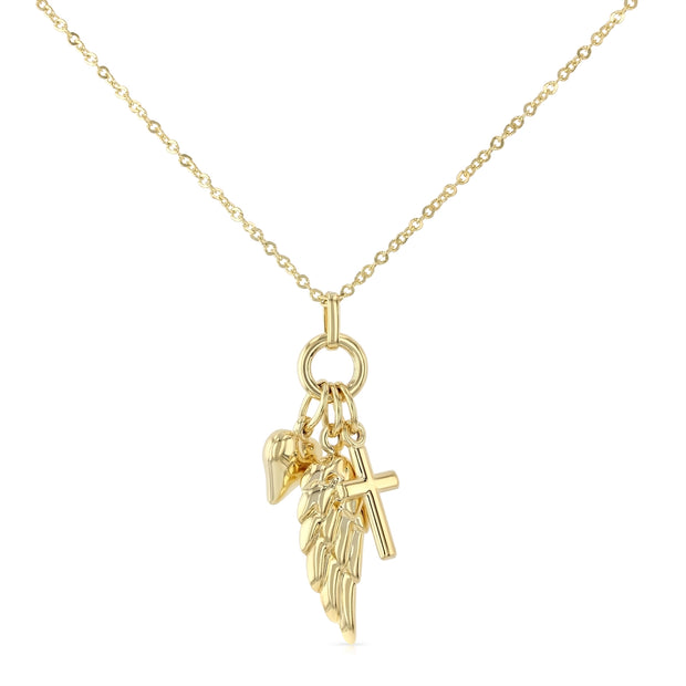 14K Gold Cross Heart & Angel Wing Pendant Charms Chain Necklace - 17+1'