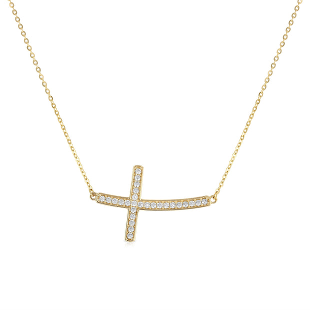 14K Gold Curved Side Way Cross CZ Pendant Charm Chain Necklace - 17+1'