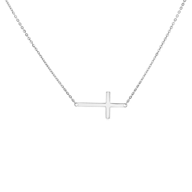 14K Gold Plain Side Way Cross Pendant Charm Chain Necklace - 17+1'