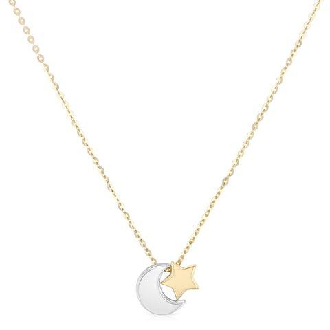 14K Gold Moon and Star Pendant Charm Chain Necklace - 17+1'