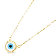 14K Gold Evil Eye CZ Pendant Charm Chain Necklace - 17+1'