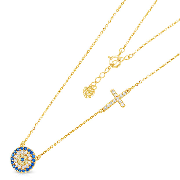 14K Gold Evil Eye Cross CZ Pendant Charm Chain Necklace - 17+1'