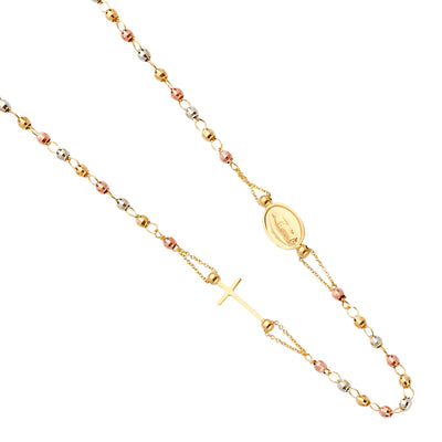 14K Gold Guadalupe Plain Cross Pendant Rosary Beads Prayer Necklace - 18'