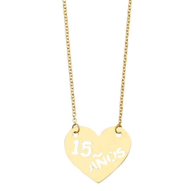 14K Gold 15 Anos Quinceanera Heart Charm Pendant Necklace Chain - 18'