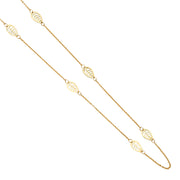 14K Gold 6 Leaf Charms Long Chain Necklace - 20'