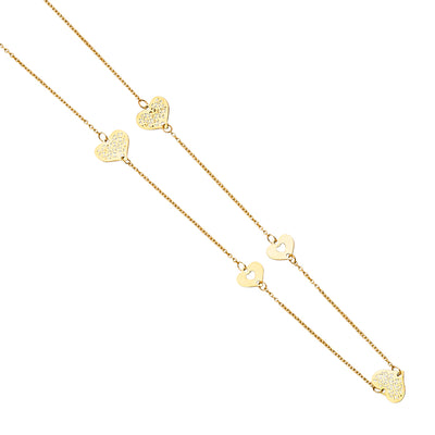 14K Gold 7 Love Hearts Charm Long Chain Necklace - 20'
