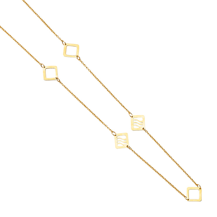 14K Gold Stylish 7 Square Charm Long Chain Necklace - 20'