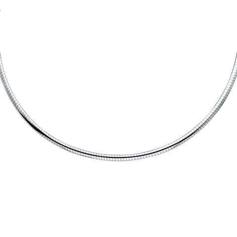 14K Gold 2mm Reversible Omega Necklace Chain - 17'