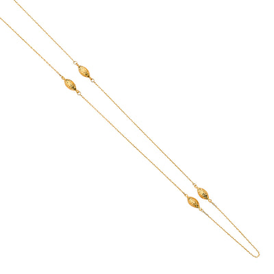 14K Gold Layered Oval Beads Ball Charm Long Chain by the Yard Necklace - 36'