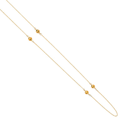 14K Gold Layered Disco Beads Ball Charm Long Chain by the Yard Necklace - 36'