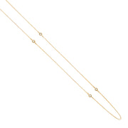 14K Gold Layered CZ Bazel Long Chain by the Yard Necklace - 17'