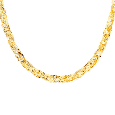 14K Gold Multi-Wired Dcut Oval Plate Necklace Chain - 17'