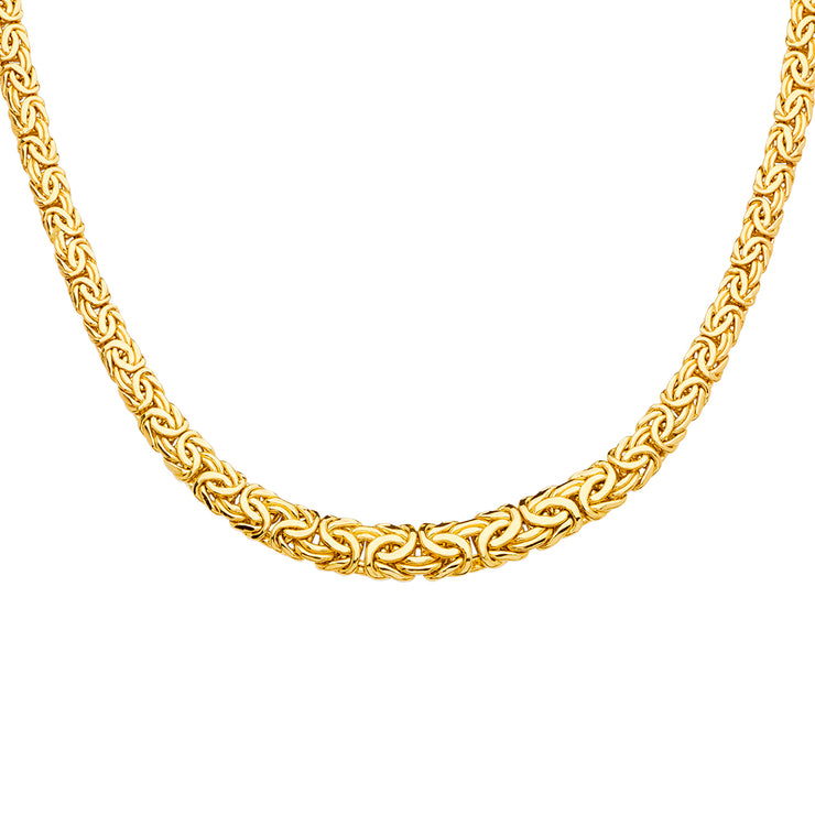 14K Gold Fancy Graduated Oval Hollow Byzantine Necklace Chain - 18'