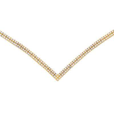 14K Gold Fancy CZ Wedding Prom Bridal Bridesmaids V Necklace - 18'