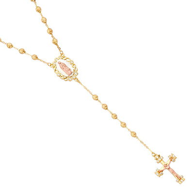 14K Gold 3mm Moon-Cut Beads Ball Guadalupe Crucifix Cross CZ Pendant Charm Rosary Beads Prayer Necklace - 20'