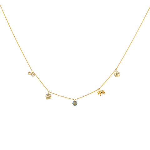 14K Gold Dangling Infinity Snow Flake Evil Eye Clover Elephant Snow Flake Lucky Charms Light Chain Necklace - 17'