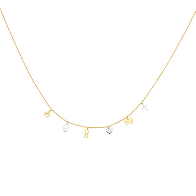 14K Gold Dangling Hamsa Hand Infinity Plain Cross Hearts Love God Angel Lucky Charms Light Chain Necklace - 17'