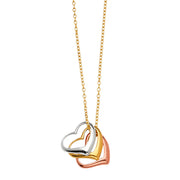 14K Gold Hearts sliding Charms Necklace - 17'