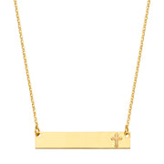 14K Gold Engravable ID Plate with Cross Chain Necklace - 17.5'