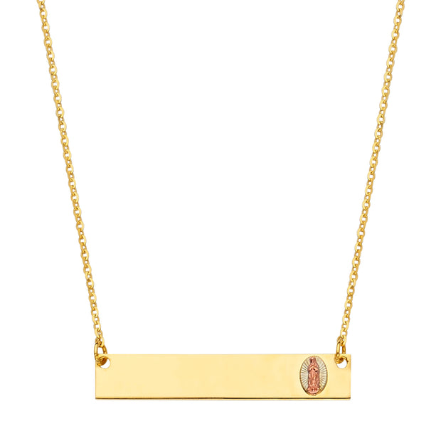 14K Gold Engravable ID Plate With Guadalupe Chain Necklace - 17.5'