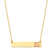 14K Gold Engravable ID Plate With 15 Years Quinceanera Number Chain Necklace - 17.5'