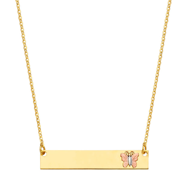 14K Gold Engravable ID Plate With Butterfly Chain Necklace - 17.5'